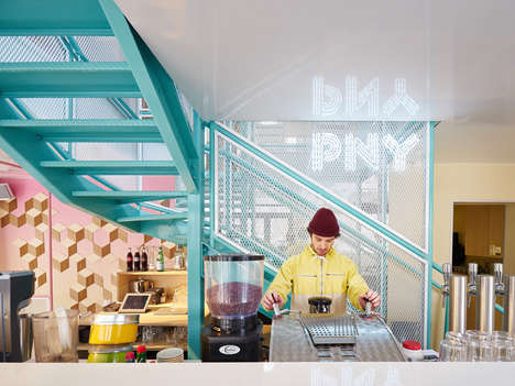 Colorful Burger Restaurants - CUT architectures Designs a Playfully Pastel Interior for PNY