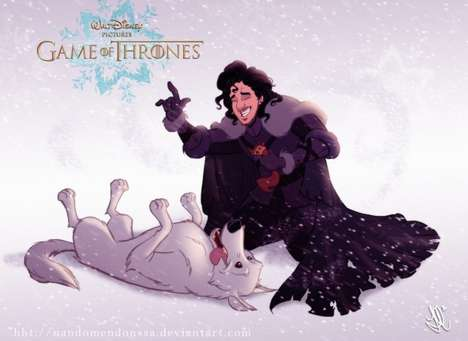 Fantasy Mashup Portraits - Game of Thrones and Disney Collide in this Illustrated Image Series