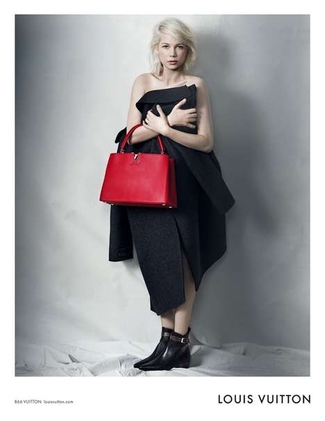 Menswear-Inspired Purse Campaigns - The Louis Vuitton Michelle Williams Ads are Effortlessly Edgy