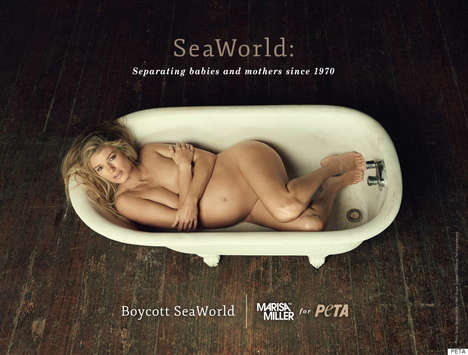 Provocative Protest Campaigns - Marisa Miller Takes it All Off for the 'Boycott SeaWorld' Movement