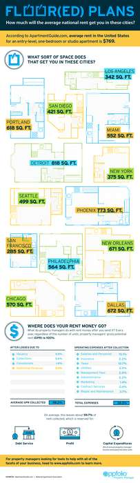 Average Apartment Charts - The Infographic Shows How Much Space You Get for Average Apartment Rent