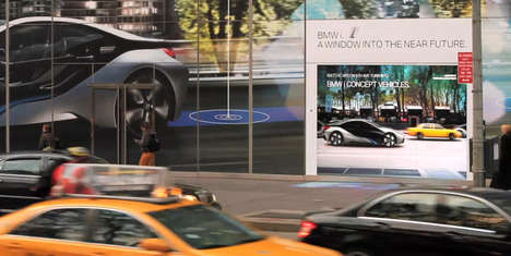 Digitized Car Dealerships - This Projected Window Display is Created for German Auto Brand BMW