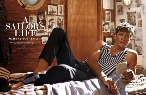 Studly Sailor Editorials - Florian Van Bael Fronts GQ Japan's Retro-Themed Editorial