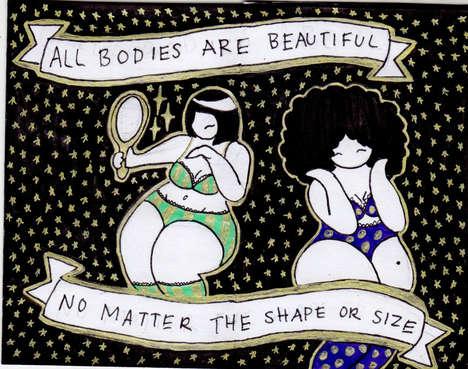 Body-Positive Cartoons - Teenager Mikhaila Nodel Promotes Body Positivity with Her Cosmic Cartoons