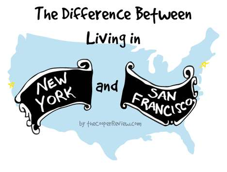Comparative City Charts - Sarah Cooper Differentiates Between Living in NYC versus San Francisco