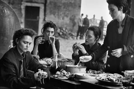 Communal Dining Editorials - The Vogue Italia Lunch in Brooklyn Photoshoot Depicts Sharing Tables