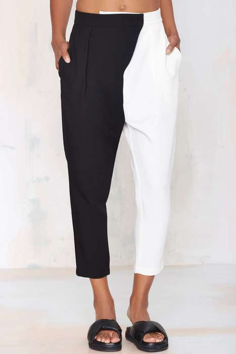 Minimalist Two-Tone Trousers - Nasty Gal's Split Personality Pants Boast a Black and White Design