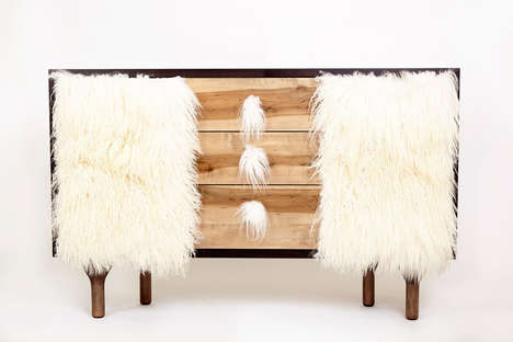 Fur-Trimmed Furniture - The Evan Z. Crane At-Home Decor Pieces Include Strips of Pelt