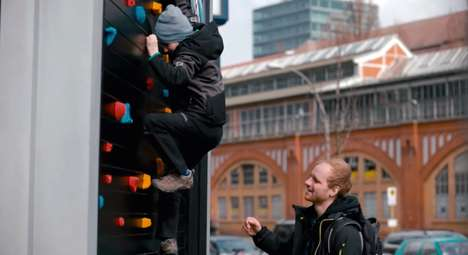 Bouldering Billboards - Powerade's Public Rock Climbing Billboard Encourage Fitness on the Streets