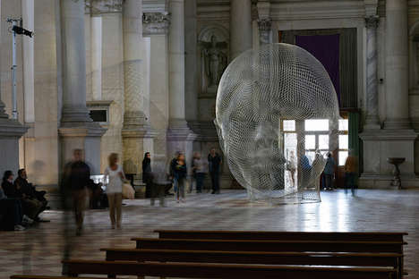 Light-Catching Mesh Sculptures - Jaume Plensa Displays Latest Work at Church of San Giorgio Maggiore