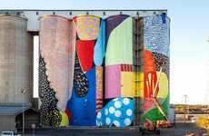 Abstract Silo Murals - These Grain Silos in Australia Boast a New Vibrant Paint Job