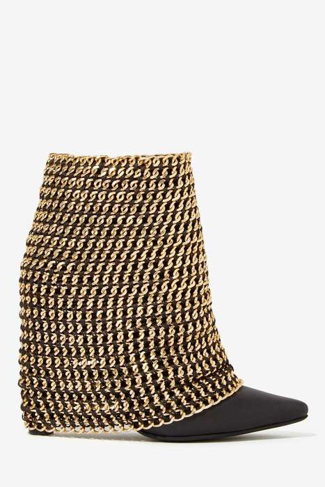 Gilded Chain Boots - Jeffrey Campbell's Holy Grail Shoe is an Opulent Rocker Accessory