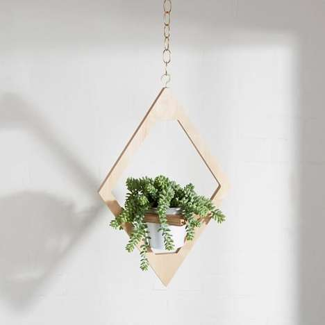 Angular Planter Decor - M.F.E.O. Jungalow's Wooden Hanging Planter is Artistic and Handmade