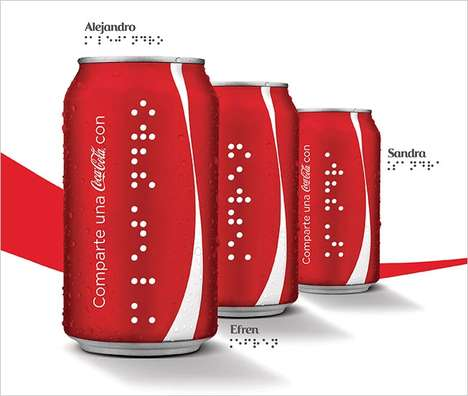 Braille Drink Labels - These Soft Drink Cans and Bottles are Printed with Braille