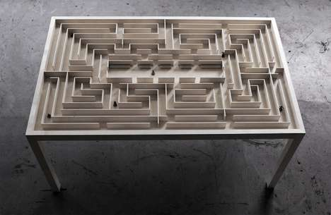 Intricate Maze Furnishings - This Wooden Maze Table Boasts Magnetic and Moving Figures