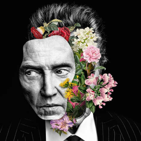Dissected Botany Portraits - These Floral Collages Feature Celeb and Model Subjects