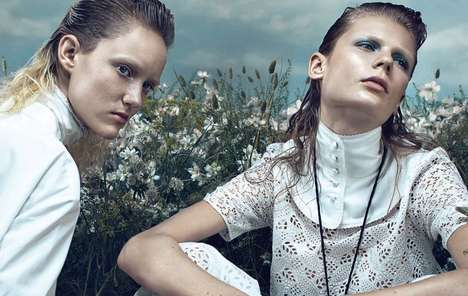 Futuristic Pilgrim Photoshoots - The Vogue Italia It's Green With Style Editorial is Retro and Mod