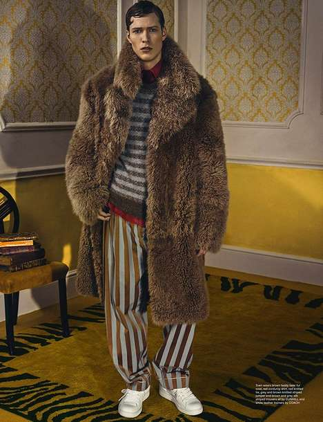 Eclectic Menswear Editorials - Wonderland Magazine's 'The Lion's Den' Story References Vintage Style