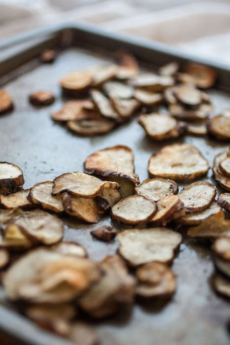 Roasted Sunroot Chips - This Unusual Vegetable Snack is Made with Nutmeg-Seasoned Sunchokes