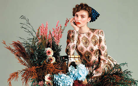 Vintage Floral Fashions - 'Rustic Femininity' is an Editorial That References Past Styles