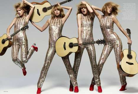 Glam Rock Songstress Editorials - This Taylor Swift Elle US Feature Boasts Bold and Daring Fashions