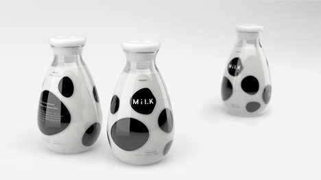 Spotted Cow Bottles - A Milk Container Expresses a Playful Character, Inspired by the Animal Maker