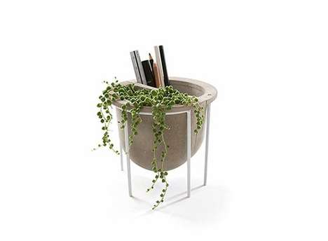 Multipurpose Concrete Planters - A Cement Flower Pot is Proposed for Flexible Indoor Use and Decor