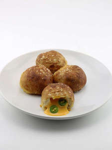 Spicy Pretzel Balls - DudeFoods's Stuffed Soft Pretzels are Filled with Nacho Cheese and Jalapenos