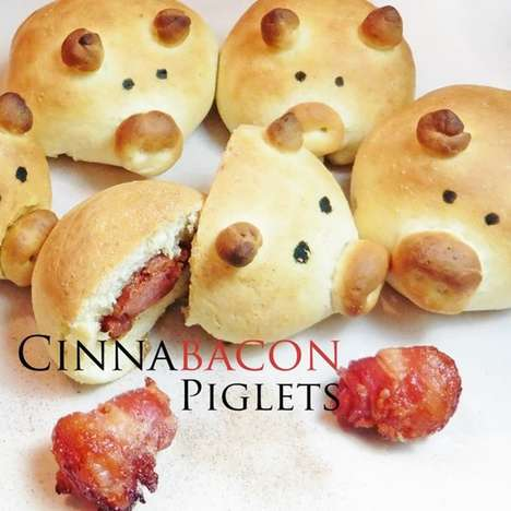 Porky Cinnamon Buns - These Tasty Cinnamon Bacon Buns Look Just Like Adorable Little Piggies