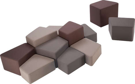 Irregular Rocky Ottomans - Geometric Stools Create Comfortable and Customized Landscapes for Sitting