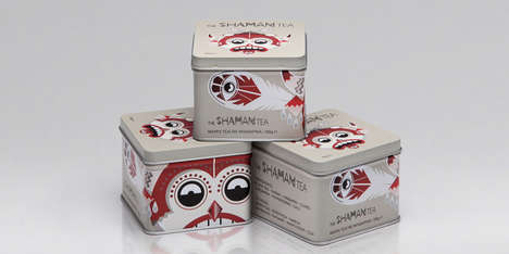Medicine Man Cans - Shaman Tea Packaging Represents the Ritual Masks of Native American Tribes