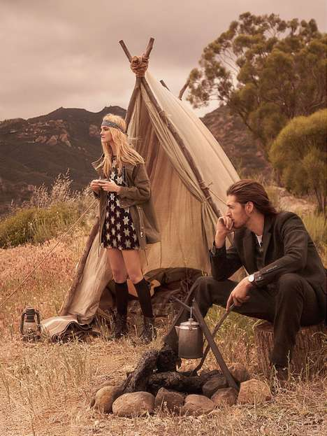 Couture Camping Editorials - The US Vogue Wild World Photoshoot Features Upscale Nomad Looks