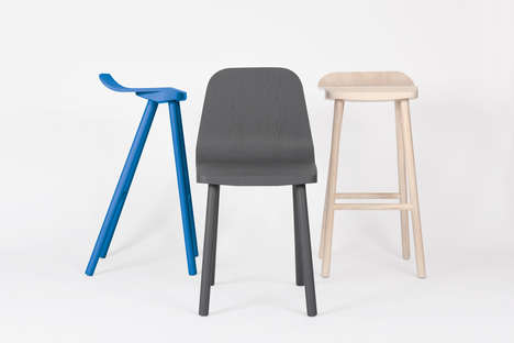 Simple Cantilevered Seating - Andrew Cheng's Spring Stool and Chair Makes a Minimalist Statement