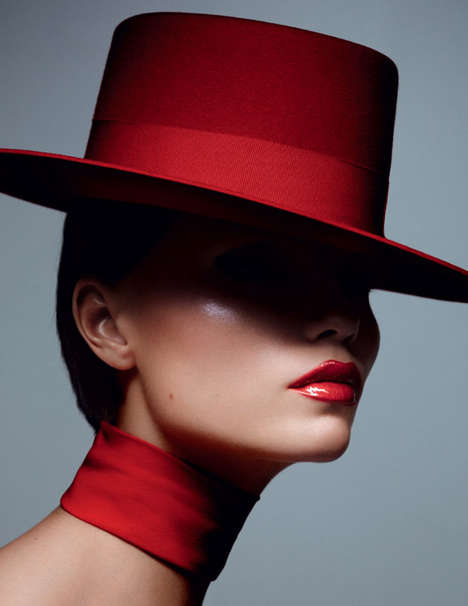 VIntage Glamour Editorials - Natasha Poly Fronts Vogue Russia's Red Arrow Beauty Story