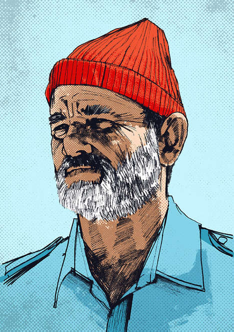 Cinematic Pop Culture Prints - Etsy's Portrait Features Bill Murray Character Steve Zissou