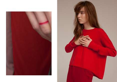 Literally Lined Editorials - The Grit Sweet Nothings Photoshoot Displays Angular Red Stripes