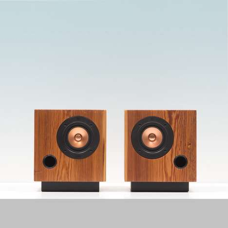 Wooden Antique Speakers - These Beautiful Cube Speakers are Made Using 19th Century Heart Pine