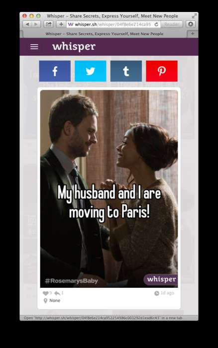 Anonymous App Campaigns - NBC Promoted Premier of Rosemary's Baby on Whisper