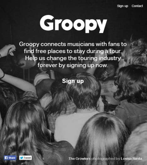 Musician Accomodation Networks - Groopy Helps Fans Support and Host Upcoming Bands on Tour