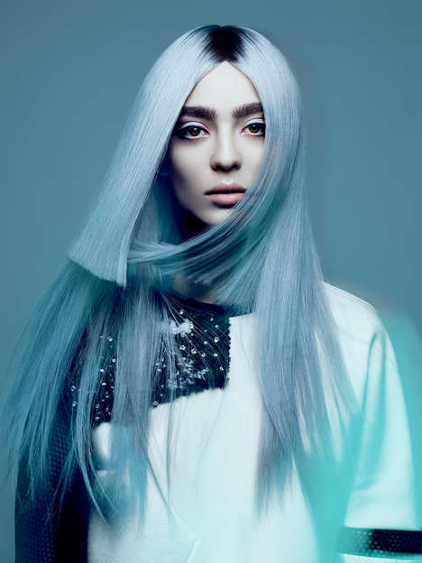 Blue-Tinged Hair Photography - Yulia Gorbachenko Captures the Work of NAHA Finalist Allen Ruiz
