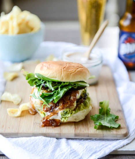 Cheese-Stuffed Burgers - These Guacamole and Goat Cheese Burgers Have Cheese Inside the Patties
