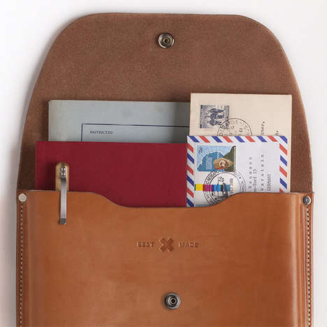 Gentleman-Approved Travel Accessories - This Leather Document Case is a Compact Travel Essential