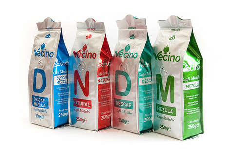 Contemporary Coffee Packages - Cafe Vecino Created These Brightly Colored Coffee Bags