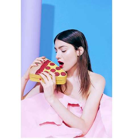 Vibrant Pizza Clutches - Gelareh Mizrahi's Slice of Heaven Clutch Features a Python Construction