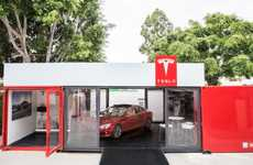 The New 'Tesla' Automotive Shops Come in the Form of Shipping Containers