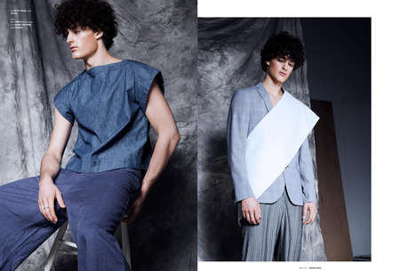 Subtle Military Fashion - The Ones 2 Watch Greyscale Editorial Highlights Structured Menswear