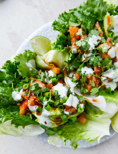 Barbecued Lettuce Wraps - This Recipe Contains BBQ Chicken, Pineapple and Cilantro Yogurt Drizzle