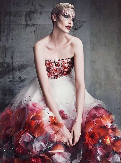 Dramatic Couture Editorials - Model Nadja Auermann is an Elegant Vision in Vanity Fair France