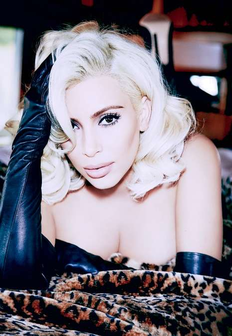 Edgy Tribute Editorials - A Blonde Kim Kardashian Channels Marilyn Monroe for Vogue Brazil