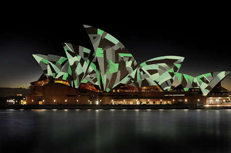 Living Mural Installations - Universal Everything Projects Doodled Animations on Sydney Opera House